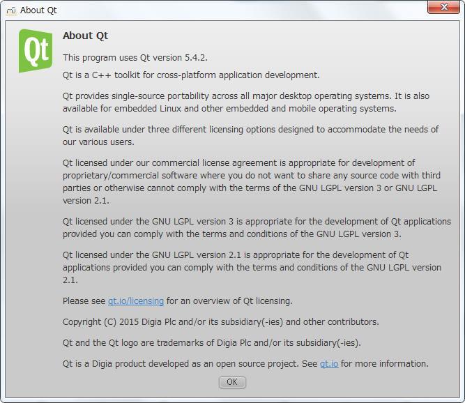 楽譜作成ソフト[MuseScore][ヘルプ][About Qt] ウィンドウが表示されます。