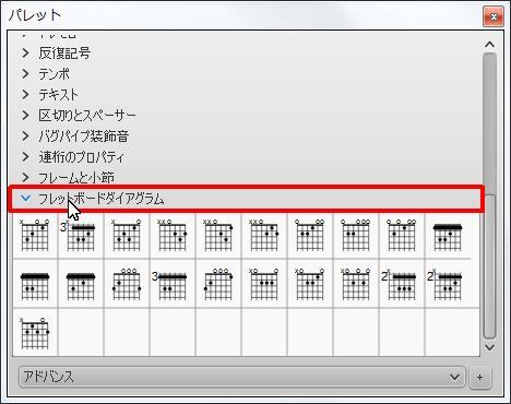 楽譜作成ソフト「MuseScore」[フレットボードダイアグラム] チェック ボックスをオンにします。