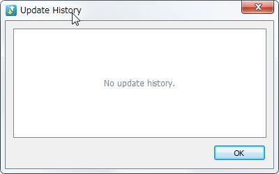 [Update History(更新履歴)] ダイアログが表示されます。