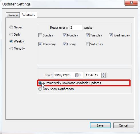 [Weekly(週間)] グループの [Automatically Download Available Updates(利用可能なアップデートを自動的にダウンロード)] オプション ボタンをオンにすると利用可能なアップデートを自動的にダウンロードします。